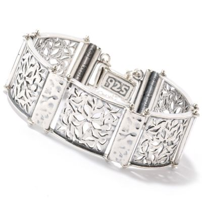 "126-745 - Passage to Israel Sterling Silver 7"" Cut Out Flower Detail Bracelet"