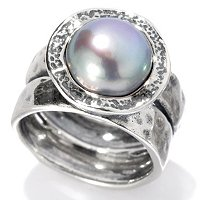 STERLING SILVER PEARL CENTER RING