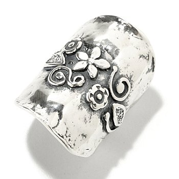 126-748 - Passage to Israel Sterling Silver Hammered Flower Design Elongated Ring