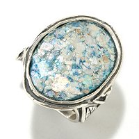 SS OVAL ROMAN GLASS RING