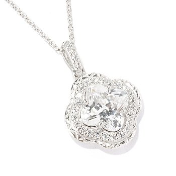 126-759 - Brilliante® Platinum Embraced™ 3.82 DEW Flower Cut Halo Pendant w/ Chain