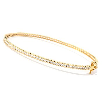 126-763 - Brilliante® Semi-Bezel Round Cut Simulated Diamond Hinged Bangle Bracelet