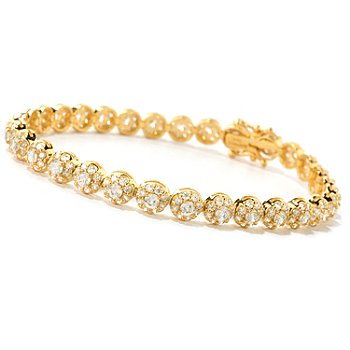 126-769 - Brilliante® Round Cut 100-Facet Polished Halo Line Bracelet