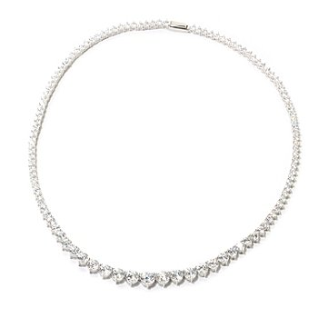 126-770 - Brilliante® 100-Facet Round Simulated Diamond Graduated Tennis Necklace