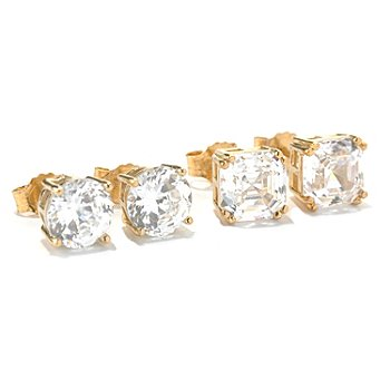 126-771 - Brilliante® 6.48 DEW Asscher & 100-Facet Cut Stud Earrings