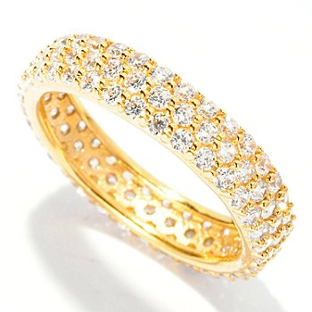 126-773 - Brilliante® 1.44 DEW Pave Set Simulated Diamond Three-Row Eternity Band Ring