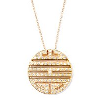 "SB SS/CHOICE ROUND CUT TRIBAL DISK PENDANT W/ 18"" CHAIN"