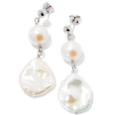 126-805 - Sterling Silver 9-10mm & 15-16mm White Freshwater Cultured Pearl Earrings