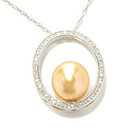SS 10-11mm ROUND GOLDEN SOUTH SEA PEARL & DIAMOND PENDANT w/CHAIN