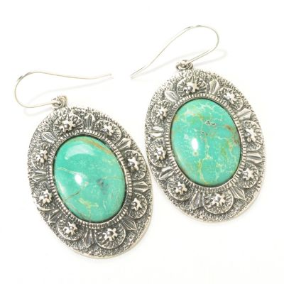 126-811 - Gem Insider Sterling Silver 15 x 20mm Oval Gleeson Turquoise Earrings