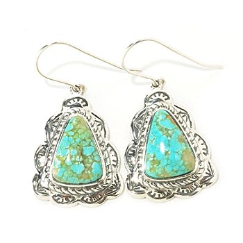 126-814 - Gem Insider Sterling Silver 11 x 15mm Trillion Shaped Turquoise Earrings