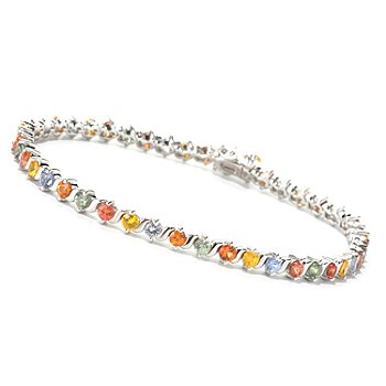 126-841 - Gem Treasures Sterling Silver Multi Color Sapphire Bracelet