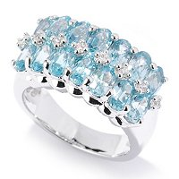 SS/PLAT RING DOUBLE ROW BLUE ZIRCON w/ WHT ACCENT BAND