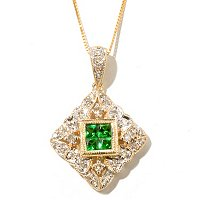 14K YG TSAVORITE AND DIAMOND PEND WITH CHAIN
