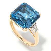 14K CUSHION LONDON BLUE TOPAZ RING
