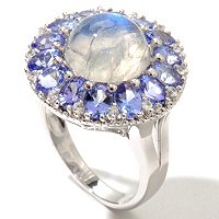 SS MOONSTONE RING W/ WHITE TOPAZ & TANZANITE