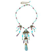 GOLDTONE VINTAGE BLUE GODDESS EGYPTIAN NECKLACE