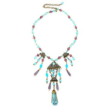 126-883 - Sweet Romance™ 17'' Gold-tone Vintage ''Blue Goddess'' Necklace w/ Extender