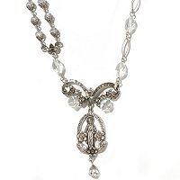 SILVERTONE VINTAGE MADONNA OF MIRACLES NECKLACE