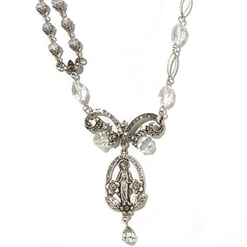 126-886 - Sweet Romance™ Silver-tone 19'' Vintage Inspired ''Madonna of Miracles'' Necklace