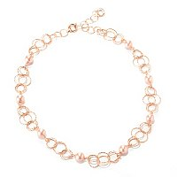 "IJD 14K ROSE GOLD 18"" + 2"" EXT COLLEZIONE NATURA NECKLACE W/PINK FWP"