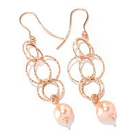 IJD 14K ROSE GOLD COLLEZIONE NATURA EARRINGS W/PINK FWP