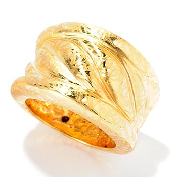 126-925 - Italian Designs with Stefano 14K ''Oro Vita'' Electroform Leaf Design Ring