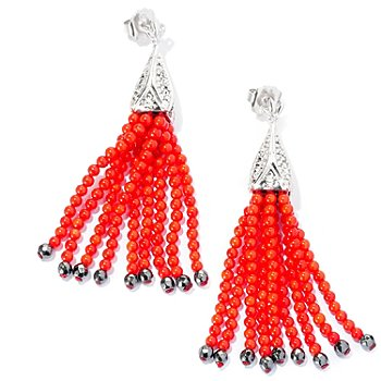 126-943 - Dallas Prince Sterling Silver 3'' Marcasite & Red Coral Tassel Drop Earrings