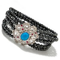 "SS 7.75"" TURQ SLEEPING BEAUTY HEMATITE BEAD BRAC WITH MARCASITE AND RUBY"