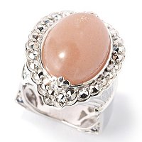 SS PEACH MOONSTONE RING WITH MARCASITE AND BLUE SAPP