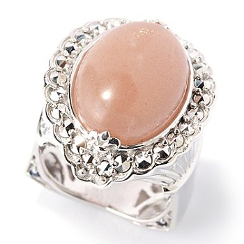 126-946 - Marcasite by Dallas Prince Sterling Silver 18 x 13mm Peach Moonstone Ring