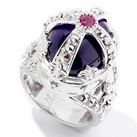 SS CHROME MARCASITE YLW CREST RING WITH AMYTHEST, RUBY AND TSAV