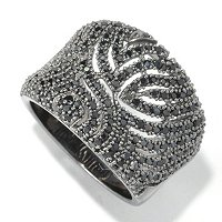 SS CONCAVE RING WITH CUTOUT DESIGNS BLK SPINEL RING