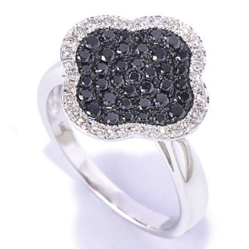 126-956 - EFFY 14K White Gold 0.55ctw Black & White Diamond Flower Shape Ring