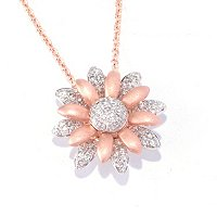 EFFY 14K WHT/PINK GOLD DIAMOND PEND
