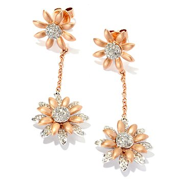 126-964 - EFFY 14K Rose & White Gold 0.62ctw Diamond Flower Dangle Earrings