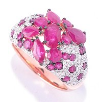 EFFY 14K RG DIAMOND & INNOVA RUBY RING