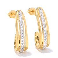 DESORO SS/18K GP ROUND CUT J HOOP EARRINGS