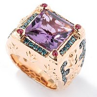 SS/RV Amethyst, Blue Diamond & Ruby Ring