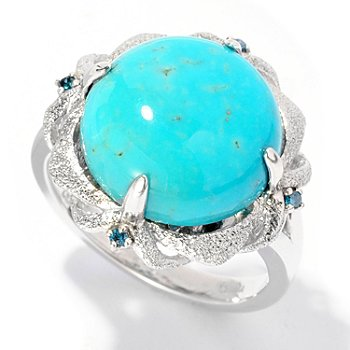 126-981 - Gem Insider Sterling Silver 13 x 13mm Turquoise & Blue Diamond Ring