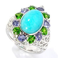 SS ROUND AMAZONITE RING W/ IOLITE, CHROME DIOPSIDE & WHITE SAPP ACCENTS