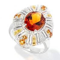 SS MADEIRA CITRINE RING W/ CITRINE & DIAMOND ACCENTS