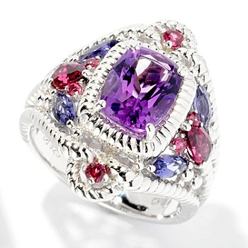 126-990 - Gem Insider Sterling Silver 2.48ctw Cushion Cut Amethyst, Garnet & Iolite Ring