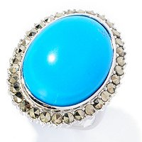 LARGE STABILIZED TURQUOISE OVAL WITH MARCASITE HALO RING
