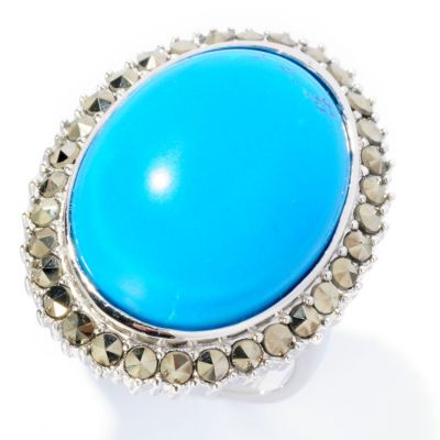 126-993 - Gem Insider Sterling Silver 16 x 21mm Oval Turquoise & Marcasite Ring