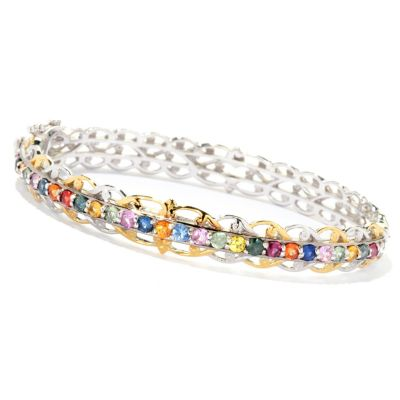 126-997 - Gems en Vogue II 2.08ctw Multi Sapphire Hinged Bangle Bracelet