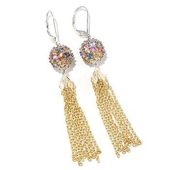 126-998 - Gems en Vogue II 5.76ctw Multi Sapphire Bead & Chain Tassel Earrings