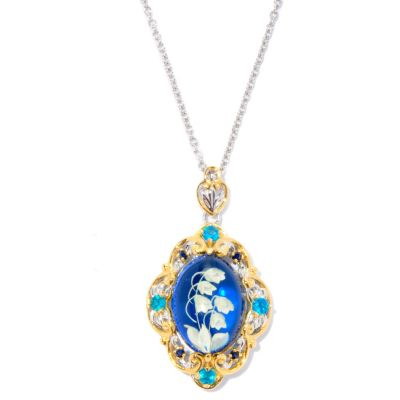 126-999 - Gems en Vogue II 18 x 13mm Carved Amber, Neon Apatite & Sapphire Pendant w/ Chain