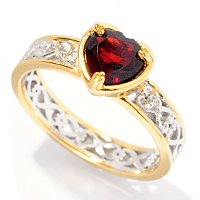 SS/PALL RING HEART-CUT GARNET & WHT SAPH STACK BAND