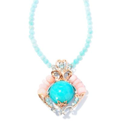 "127-012 - Gems en Vogue II 20mm Amazonite, Opal & Zircon Enhancer Pendant w/ 18"" Necklace"